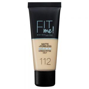Maybelline New York Base de maquillaje Fit Me Mate y Afinaporos tono 112 Soft Beige calca a tu tono y textura pieles claras 30ML 000 3600531544652 Front