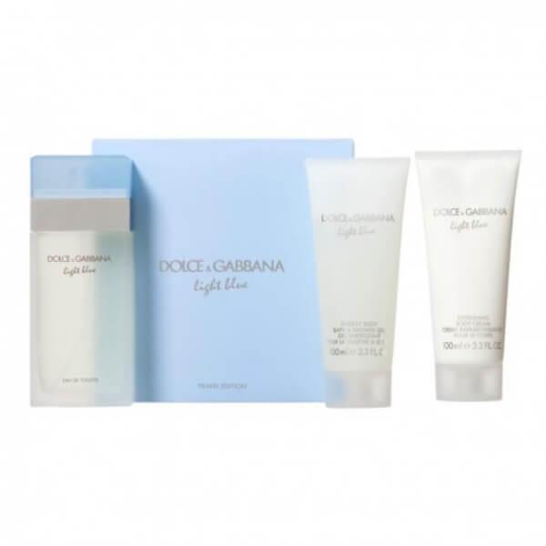 dolce gabbana light blue eau de toilette 100ml vaporizador body cream 100ml shower gel 100ml travel edition