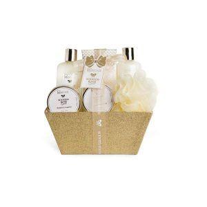 idc-institute-scented-bath-gold-basket-6-pcs-300ml-shower-gel-300ml-bubble-bath-110ml-hand-cream-110ml-body-scrub-200g-bath-salts-eva-puf