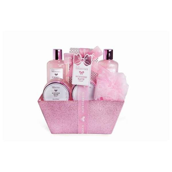 idc-institute-scented-bath-rose-basket-6-pcs-300ml-shower-gel-300ml-body-lotion-110ml-hand-cream-110ml-body-scrub-200g-bath-salts-eva-pu